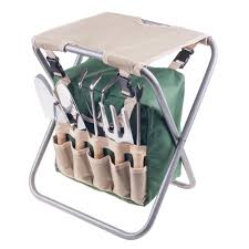 pure garden 16 in folding garden stool with garden bag and tools