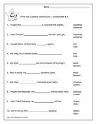 great page with a lot of free printable homophone worksheets