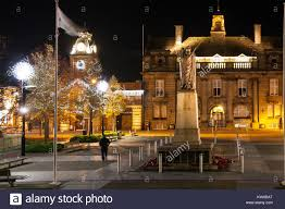 city lights at town center crewe town center cheshire floodlit at christmas time with christmas