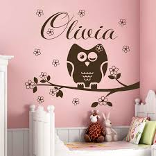 Nursery Owl Decor Name Wall Decal Owl Decorations Nursery Baby Room Bedroom
