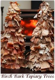 birch bark christmas topiary trees featuring sarah from alderberry