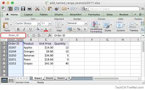 ms excel 2011 for mac add a named range