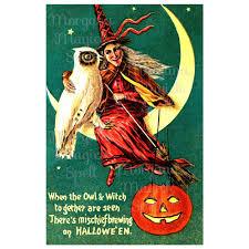 halloween owl u0026 witch printable vintage halloween postcard clipart