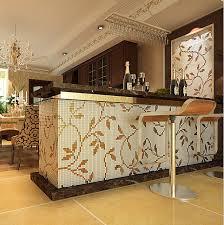 peinturer comptoir de cuisine nouveau 3d feuilles motif mosaïque de verre peinture cuisine