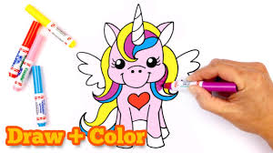 how to draw and color a cute unicorn youtube