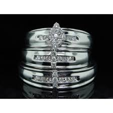 his and rings set sparkling trio marriage rings half carat cut diamond on gold