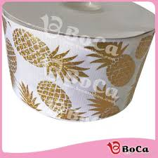 3 inch grosgrain ribbon wholesale 2018 75mm3 inch gold pineapple printed heat tranfer holographic