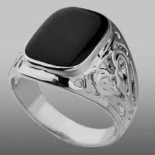 onyx wedding band silver plated mens pattern onyx boys signet ring wedding band
