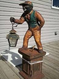 black lawn jockey americana antique cement historical statue