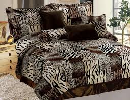7 piece safari micro suede faux fur comforter set pinterest
