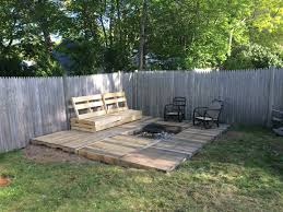 Firepit Bench A Pallet Deck And Pallet Bench With A Pit This Took Me About
