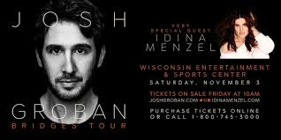josh groban to play at wisconsin entertainment and sports center in