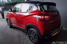 mahindra jeep 2017 2017 mahindra kuv100 nxt accessories red black rear left autobics