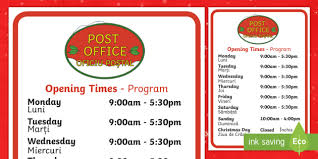 post office opening times display poster