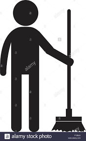 cleaner man and cleaning tool equipment people icon illustration