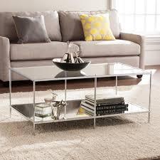 Metallic Coffee Table by Southern Enterprises Pandora Metallic Chrome Mirrored Cocktail