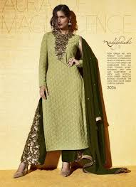 pista green color designer gown dress with silk morpeach color dooiitt shop