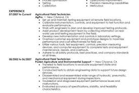 Field Technician Resume Sample by Resume For Agriculture Field Reentrycorps