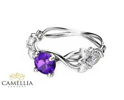 engagement rings flower design 14k white gold amethyst engagement ring flower design amethyst