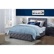 greenhome123 gray linen upholstered platform bed frame with padded