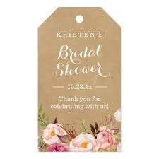 wedding shower thank you gifts rustic floral kraft bridal shower thank you gift tags zazzle