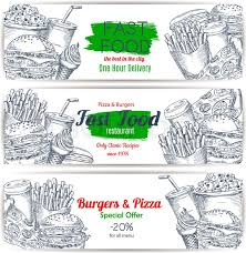 fast food menu special offer sketch banner set burger pizza