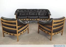 canape teck vintage canapé et 2 fauteuils teck et cuir arne norell coja a