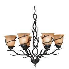 Twig Light Fixtures Twigs 6 Light Bronze Chandelier 90900brz The Home Depot