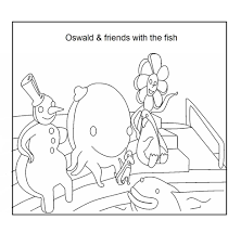 oswald and friend with the fish coloring download page