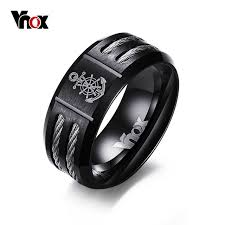 cool rings for men aliexpress buy vnox men s rudder and anchor ring cool black
