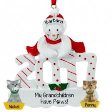 2017 snow person with 2 cats as grandkids ornament personalized