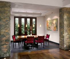 tile to wood floor transition dining room contemporary with art
