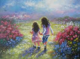 garden sisters art print from oil painting two sisters girls