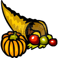 royalty free thanksgiving cornucopia with a pumpkin and gourds