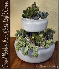 two tiered tabletop planter from outdated glass light covers