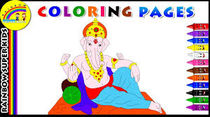 coloring pages kids learn colors lord ganesha