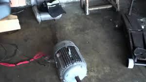 further on test setup 220 volts 3 phase motor brooks crompton
