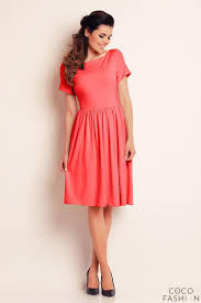 coral red short sleeves knee length dress