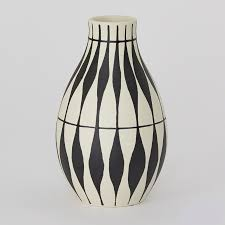 black white curvy lines vase mitchell hill charleston home