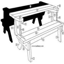 Folding Picnic Table Bench Plans Free by Convertible Bench Table Construction Plans Outdoor Crafts And
