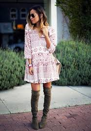 25 ways to style dresses with boots 2018 fashiontasty com