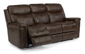 sofa match top grain leather match power reclining sofa with nail head trim