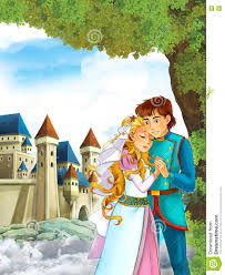 cartoon scene with cute princes in the forest near the castle