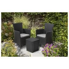 Tesco Bistro Chairs Buy Keter Iowa Rattan Effect Bistro Set Graphite From Our Plastic