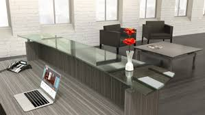 Reception Desk With Transaction Counter Mayline Sterling Stg33 Modern Reception Desk With Glass