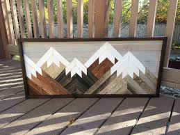 reclaimed wood wall art mountain scene mantel art cabin decor