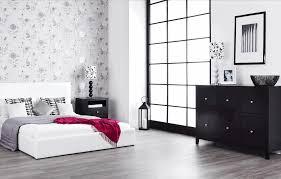 shabby chic bedroom with dark furniture sleek white flooring grey