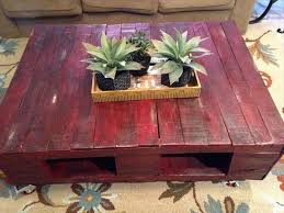 diy red pallet coffee table with wheels pallet furniture diy