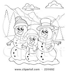 coloring page snowman family royalty free rf clipart illustration of a coloring page outline of
