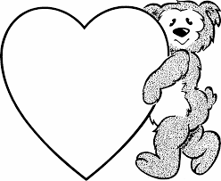 teddy bear heart coloring pages kids coloring